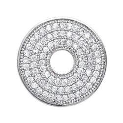 Pendentif Cercle Donut ZIRCONIUM MICROSERTI Argent Massif 925/1000 Bijoux Femme
