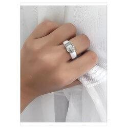 Bague Céramique Boucle de Ceinture Blanc T54  Cristaux Zirconium  Bijoux Femme