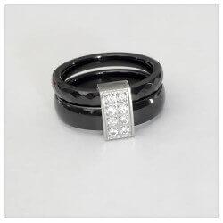 Bague Céramique Noir T56/57  Double Anneaux  Zirconium Argent Massif Bijoux