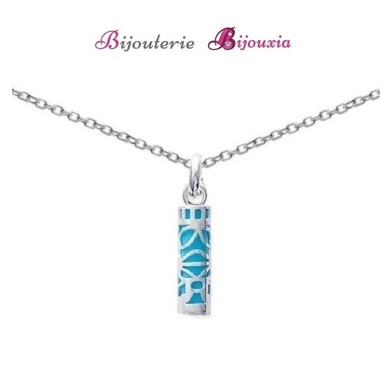 Pendentif Tiki Turquoise Argent Massif 925/1000 Neuf Avec Étiquette Bijoux
