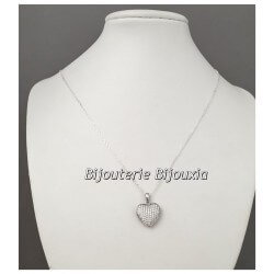 Collier Pendentif Coeur Zirconium Argent Massif 925/1000 Bijoux Femme