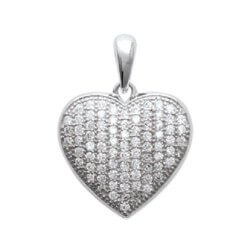 Pendentif Coeur Zirconium Microserti  Argent Massif 925/1000 Bijoux Femme