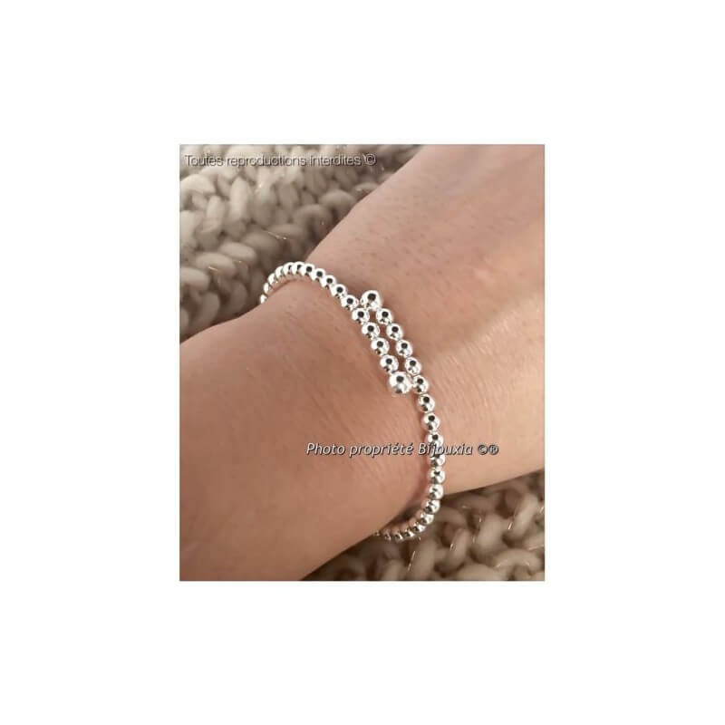 e12e3df378cc8 Bracelet Jonc Boules argent Toi et Moi Argent Massif 925 000 Bijoux Femme