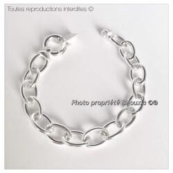 Bracelet Maillons Épais Fermoir Bouée Argent Massif 925/1000 Bijoux Femme