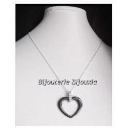 Collier Pendentif Coeur Céramique Cz + Chaîne En Argent Massif 925/1000-Bijoux