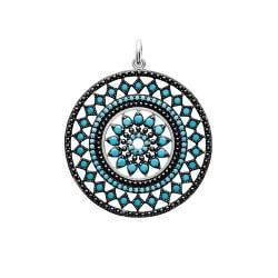Pendentif Cercle Serti Pierres Turquoises Argent Massif 925/1000 Bijoux Femme