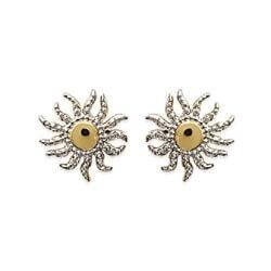 Boucle D'oreilles Soleil Zirconium Plaqué Or 18 carats 3 Microns Bijoux Femme