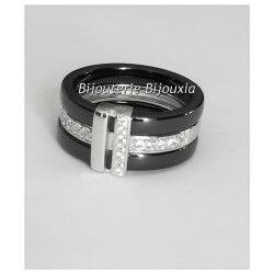 Bague Large Céramique Noir T 52 - Zirconium&Argent Massif 925/1000-Bijoux femme