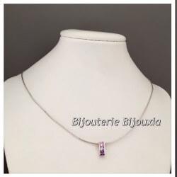 Collier Pendentif Cristaux Zirconium Violet Rose Argent Massif 925/1000 Bijoux