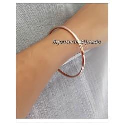 Bracelet Jonc Épais - 6,2CM Plaqué Or ROSE 18 Carats Garanti 10 Ans Bijoux Femme
