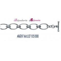 Bracelet Maillons Ronds Épais - Argent Massif 925/1000 Bijoux Femme Poinçonné