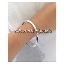 Bracelet Jonc Épais 6,6 cm Argent Massif 925/000 Poinçon Bijoux Femme