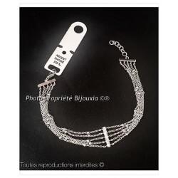 Bracelet Fines boules 4 Rangs Chaînettes  Argent Massif 925/1000 Bijoux Femme