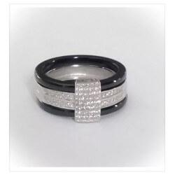 Bague T 52 - Céramique - Pavé de Cristal Zirconium - Argent 925/1000 - Bijoux