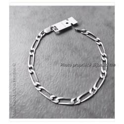 Bracelet  Maille Figaro Argent Massif Vieilli 21 CM X 5mm Bijoux Mixte Poinçonné