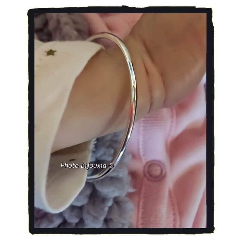 Bracelet jonc bébé fil rond en argent massif 925/1000 rhodié diamètre 4,5cm NEUF