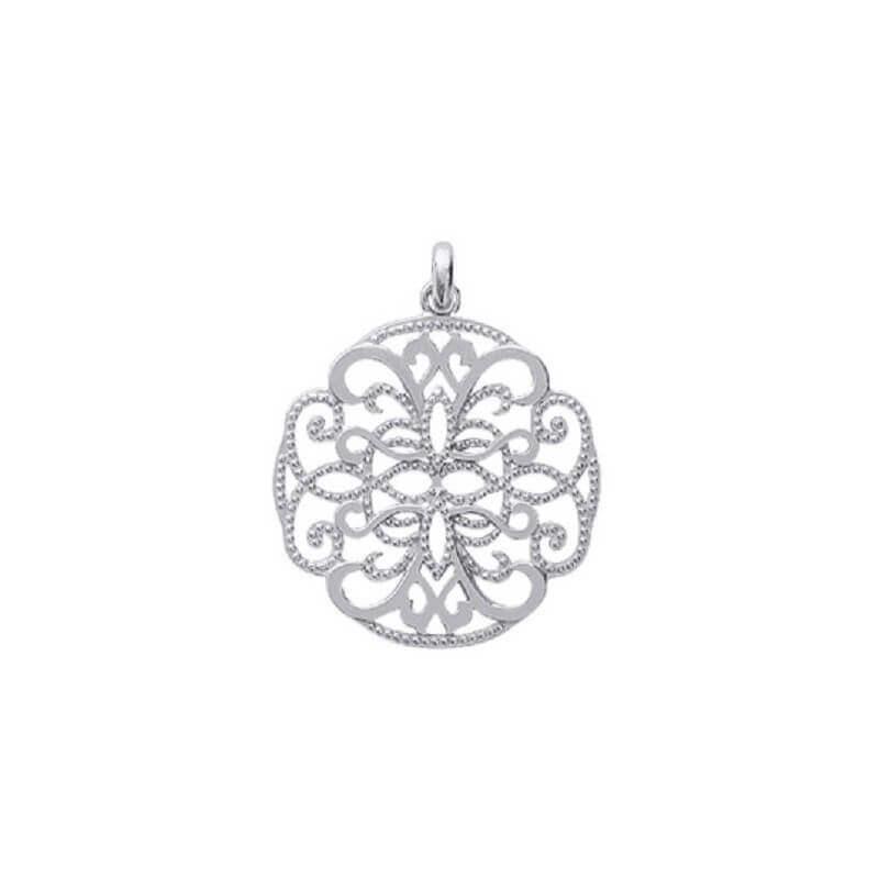 Pendentif  Rond Arabesque Argent Massif 925//1000 Rhodié  Bijoux Femme