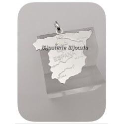 Pendentif Carte Espagne En Argent Massif 925/1000 - Bijoux Neuf Avec Étiquette