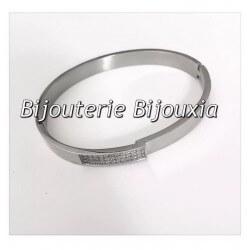 Bracelet Jonc Acier Inoxydable 316L-ZIRCONIUM - Ouvrable- 62mm- Bijoux Femme