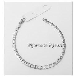 Bracelet Souple Maille Haricot  Argent Massif 925/1000 Poinçonne Bijoux Femme