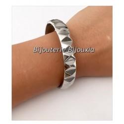 Bracelet Jonc Epais Ciselé - Acier Inoxydable 316L- Ouvrable - Bijoux Femme