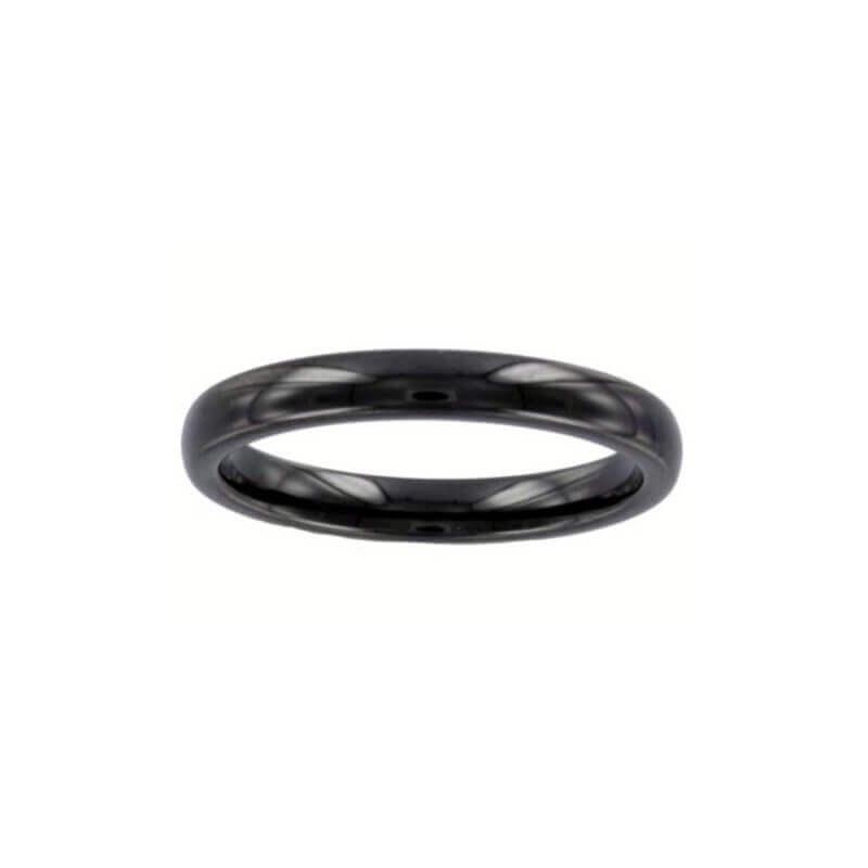 Bague Alliance Lisse En Céramique Noir Bijoux Femme Taille 50-52-54-56-58-60 CDE