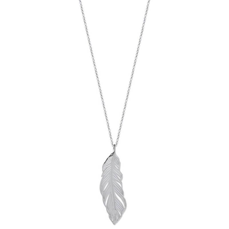 Collier pendentif PLUME Acier Inoxydable 316L Bijoux Femme NEUF