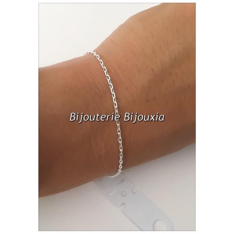 Bracelet fin - Chaîne Maille Forçat- 18 cm - Argent Massif 925/000 - Bijoux