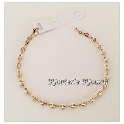 Bracelet Maille Grain De Café 18CM Plaqué or 18 CARATS 750/1000 Bijoux Femme