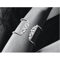 Bracelet Jonc Ouvert Large ZIRCONIUM Argent 925/1000 Rhodié Bijoux Femme