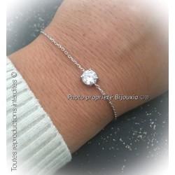 Bracelet Cristal Solitaire Zirconium Argent Massif 925/1000 Bijoux