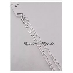 Chaîne Maille Figaro- Diamantée 55cm  4MM Argent Massif 925/1000 Bijoux NEUF