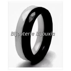Bagues Double Alliances En Céramique Couleur Blanc&Noir T50-52-54-56-58-60 CDE