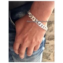 Bracelet Maille Gourmette Large 22CM x 1CM Argent Massif 925/1000 Bijoux MIXTE