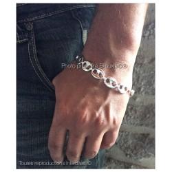 Bracelet Grain De Café Large 12MM LARGE  Argent Massif 925/1000 Bijoux Homme