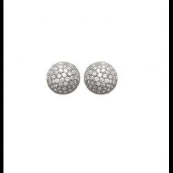 Boucles D'oreilles Boules Microsertis  Zirconium Argent 925 Rhodié Bijoux Femme