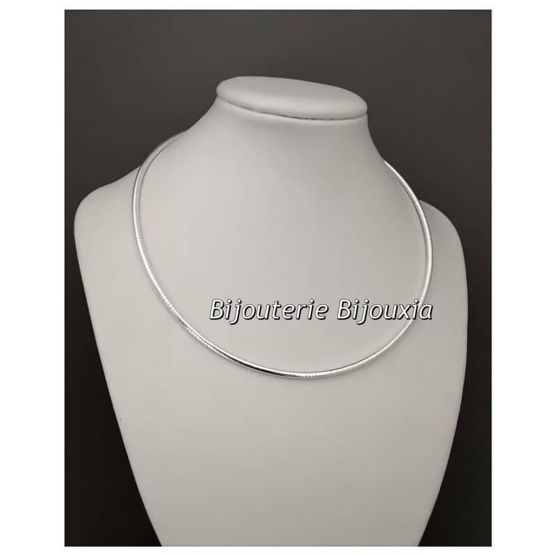 Collier Rigide Maille Oméga ronde 42cm Argent Massif 925/000 Bijoux Femme