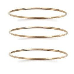 Bracelets Lot Triple Joncs  Plaqué Or 18 Carats 750/1000  6,6cm Bijoux Femme