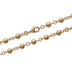 Collier Boules 6 MM Plaqué Or 18 carats 3 Microns Bijoux Femme