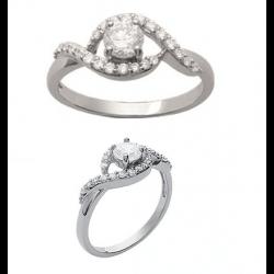 Bague Cristal Solitaire zirconium  Argent Massif 925/1000 Bijoux Femme