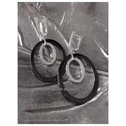 Boucles D'oreilles Créoles Céramique Noire Et Cristal Argent 925 Bijoux Femme