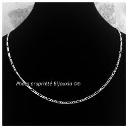 Chaîne Maille Figaro  Longue 70 cm Argent Massif 925/1000 Bijoux NEUF Homme