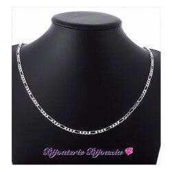 Chaîne Maille Figaro Diamantée 50cm X 3 mm Argent Massif 925/1000 Bijoux NEUF