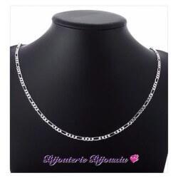 Chaîne Maille Figaro Diamantée 55cm X 3 mm Argent Massif 925/1000 Bijoux NEUF