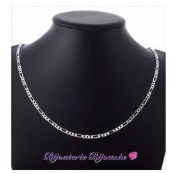 Chaîne Maille Figaro diamantée 45cm X 3mm Argent Massif 925/1000 Bijoux NEUF