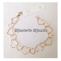 Bracelet coeurs  Plaqué Or 18 carats 3 Microns Garanti 10 Ans Bijoux Femme