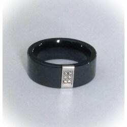 Bague Alliance Epaisse En Céramique Noire Et Cristal Zirconium-T56 - Bijoux