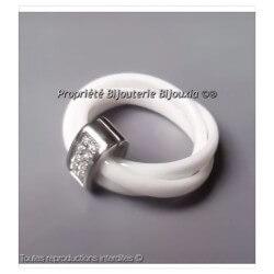 Bague 3 Anneaux En Céramique Blanche T56 Oxyde De Zirconium Bijoux Femme