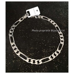Bracelet Maille Figaro  6,5 MM X 21 CM Argent Massif 925/1000 Bijoux Homme  NEUF
