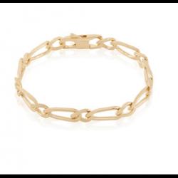 Bracelet Maille Figaro 1-1 - 21 cm x 6 mm Plaqué or 18 Carats  Bijoux Homme